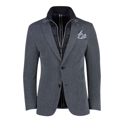 Gotstyle - Blue Industry Blazers Knit Patch Pocket Blazer with Removable Inlay - Navy