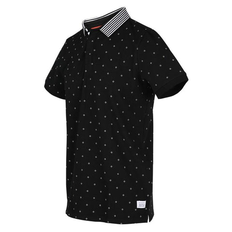Micro Diamond Print Contrasting Collar Stripes Polo - Black - Gotstyle The Menswear Store