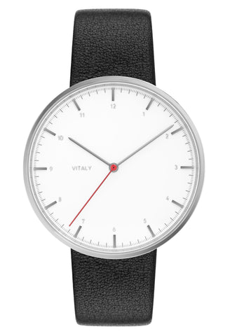 Vitaly -Basel x White SS Watch, Leather Band