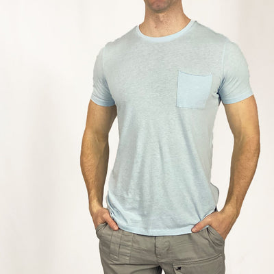 Gotstyle - Benson T-Shirts Cotton / Hemp Pocket Crew Tee - Light Blue