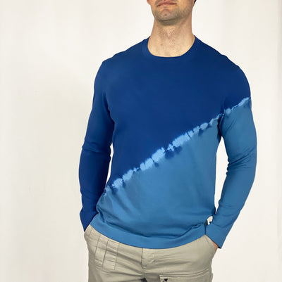 Gotstyle - Benson Sweaters Half Tie-Dye Long Sleeve Crew Sweater - Blue