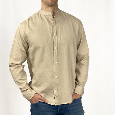 Gotstyle - Benson Collar Shirts Band Collar Soft Linen Long Sleeve Shirt - Beige
