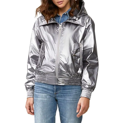 Gotstyle - Soia & Kyo Jackets Water-Repellent Hooded Metallic Bomber Jacket