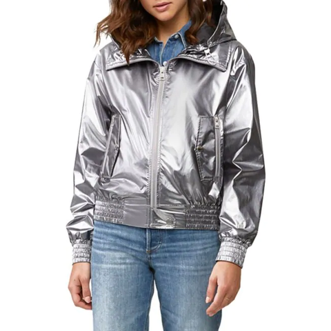 Water-Repellent Hooded Metallic Bomber Jacket - Gotstyle The Menswear Store