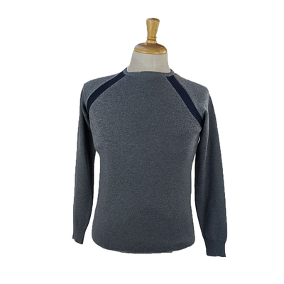 Christopher Bates Sweaters Contrast Seam Merino Wool Raglan Sweater - GREY - Gotstyle The Menswear Store
