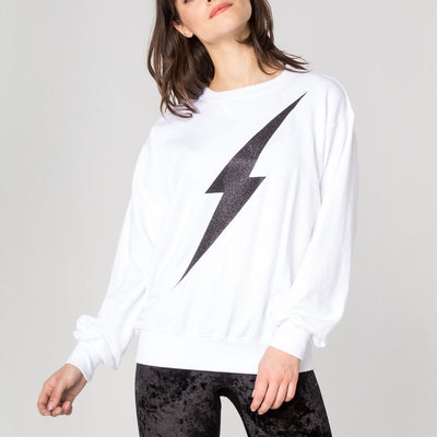 CHRLDR Sweatshirts Lightning Bolt Oversized Crew Neck Sweatshirt - Gotstyle The Menswear Store