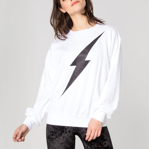 CHRLDR Sweaters Lightning Bolt Oversized Crew Neck Sweatshirt - Gotstyle The Menswear Store