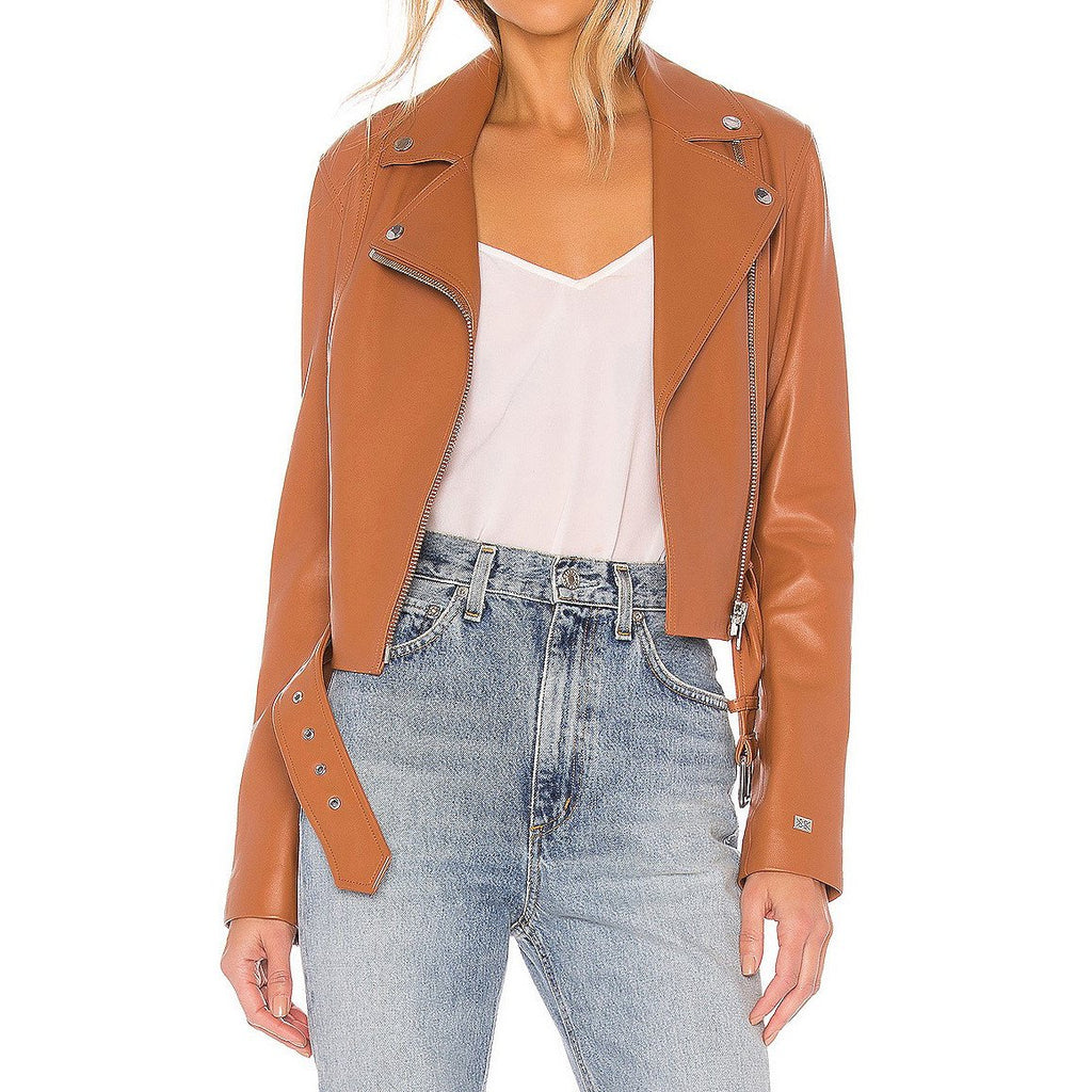 Soia & Kyo Outerwear Leather Cropped Biker Jacket - Gotstyle The Menswear Store