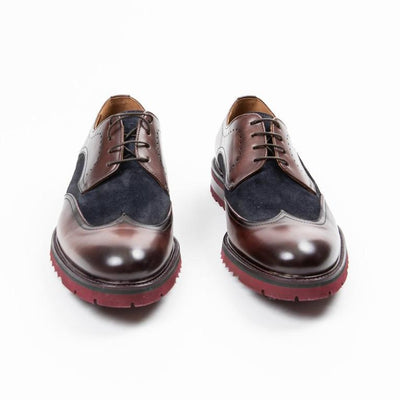 Gotstyle - Calce Shoes Suede / Leather Mix Wingtip Derby Shoe