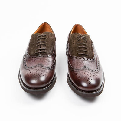Calce Shoes Suede / Pebbled Leather Mix Full Brogue Oxford Shoe - Gotstyle The Menswear Store