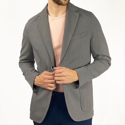 Gotstyle - Circolo 1901 Blazers Solid Cashmere Touch Patch Pocket Jersey Blazer - Grey