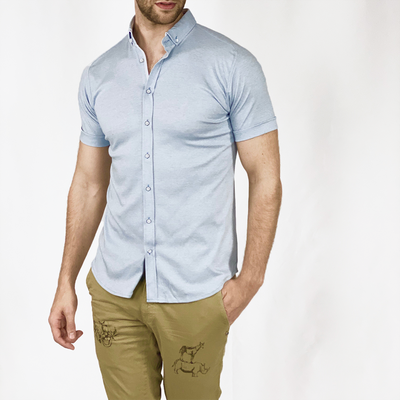 Gotstyle - Desoto Collar Shirts Pique Short Sleeve Jersey Shirt - Light Blue