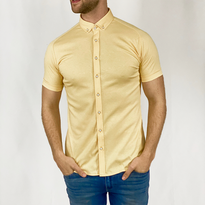 Gotstyle - Desoto Collar Shirts Pique Short Sleeve Jersey Shirt - Yellow