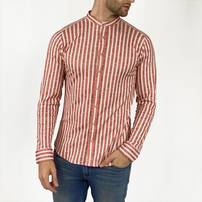 Gotstyle - Desoto Collar Shirts Stripe Jersey Shirt with Band Collar