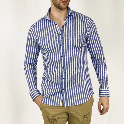 Gotstyle - Desoto Collar Shirts Stripe Jersey Shirt with Spread Collar