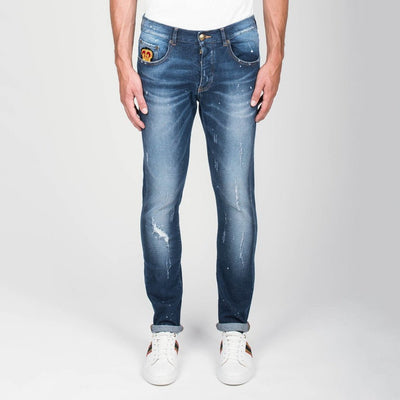 Lords & Fools Denim Destructed Jeans with Patches - Blue - Gotstyle The Menswear Store