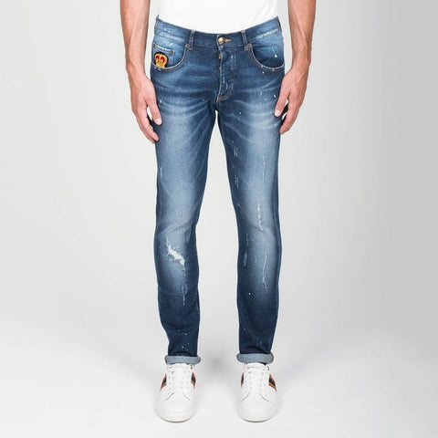 Destructed Jeans w Patches Blue - Gotstyle The Menswear Store