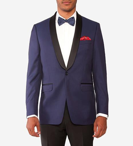 Black Satin Shawl Collar Dinner Jacket -  - 1