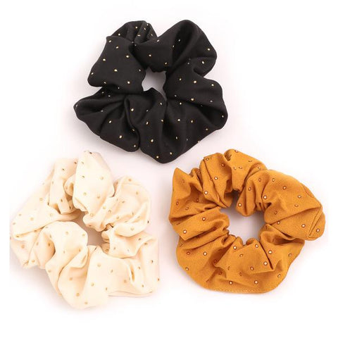 Fame Accessories Gifts Lightly Studded Scrunchies - 3 Pack - Gotstyle The Menswear Store