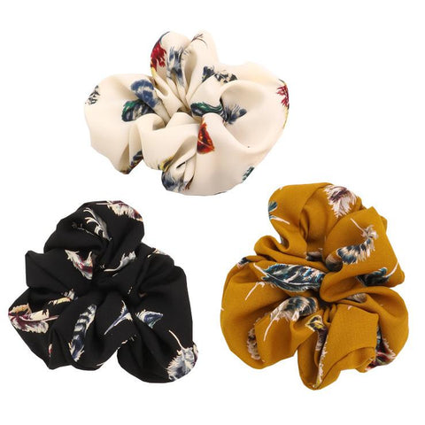 Fame Accessories Gifts Feather Print Scrunchies Set - 3 Pack - Gotstyle The Menswear Store