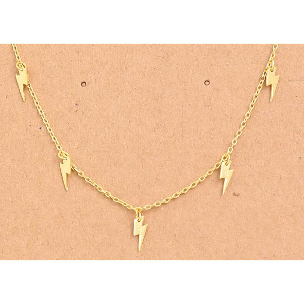 Fame Accessories Necklaces Lightning Charms Necklace - Gold - Gotstyle The Menswear Store