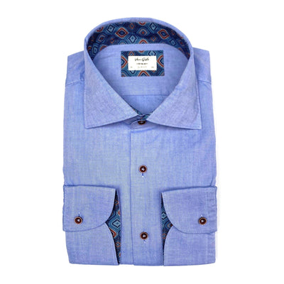 Van Gils Collar Shirts Cotton Denim Oxford Shirt w Contrasts - Gotstyle The Menswear Store