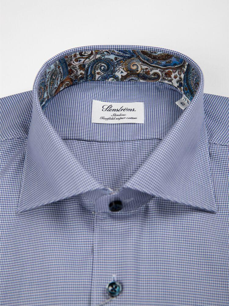 Stenstroms MT - Dress Shirts Houndstooth Two Fold Super Cotton Shirt w Contrasts - Gotstyle The Menswear Store