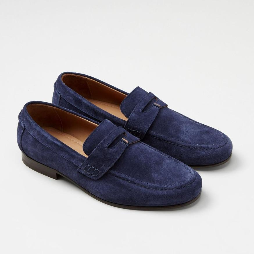 Brother x Frere MF - Dress Shoes Haden Suede Penny Loafer - Navy - Gotstyle The Menswear Store