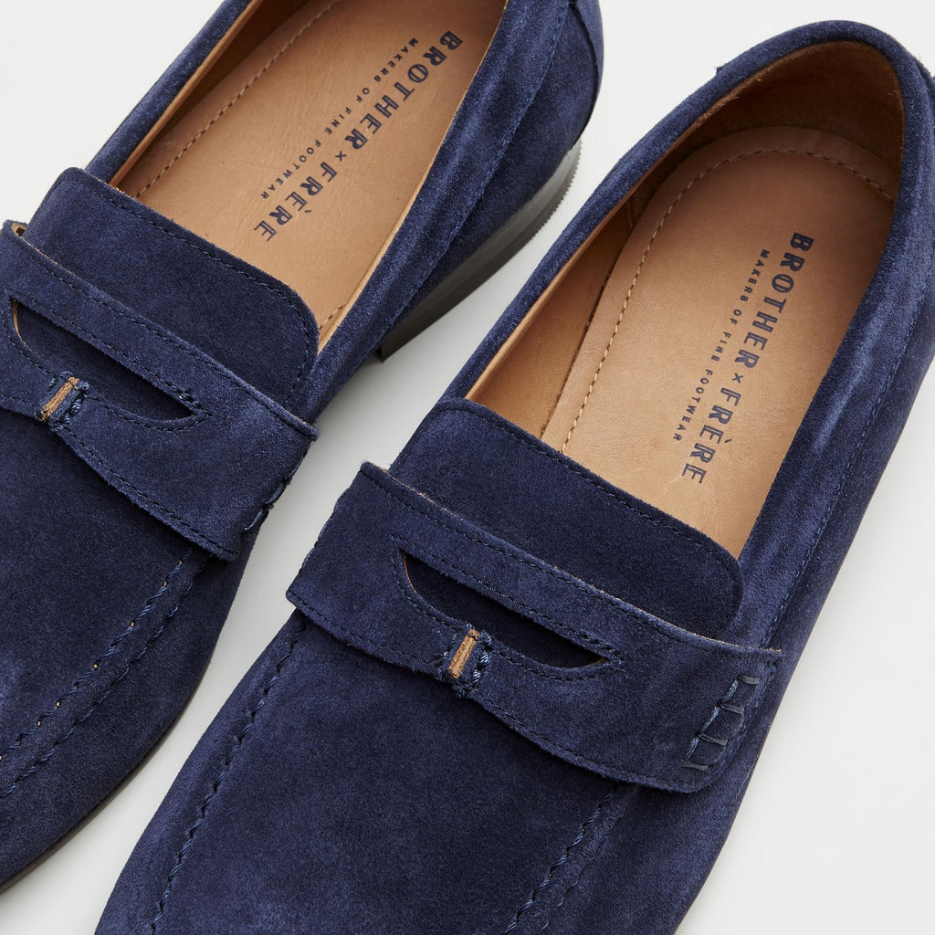 Haden Suede Penny Loafer - Navy - Gotstyle The Menswear Store