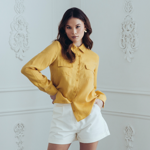 Cupro Blouse - Mustard - Gotstyle The Menswear Store