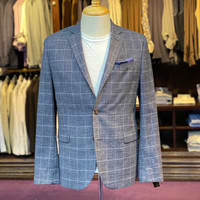 Wool/Cotton Windowpane Check Blazer - Gotstyle The Menswear Store