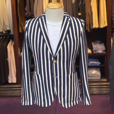 Club of Gents MS - Blazers Terry Stripe Patch Pocket Jersey Blazer - Gotstyle The Menswear Store