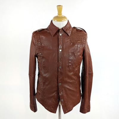 Bano eeMee Blazers Dallas Ribbed Biker Leather Jacket - Gotstyle The Menswear Store