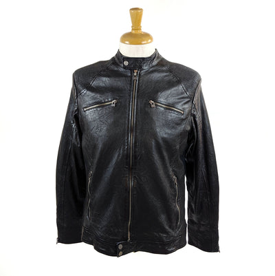 Berlin Biker Leather Jacket with Ribbed Shoulders - Gotstyle The Menswear Store