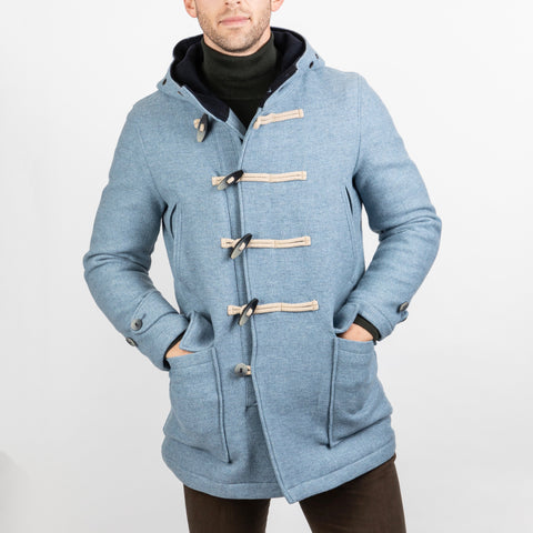 Atlantic Duffle Toggle / Zip Rain Resistant Wool Coat with Hood - Light Blue