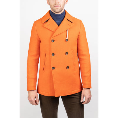 Camplin Coats Island Peacoat Rain Resistant Wool - Orange - Gotstyle The Menswear Store