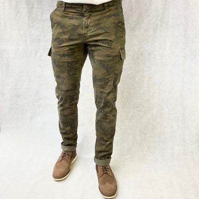 Mason's Pants Camo Print Cargo Pant with Studs Detail - Gotstyle The Menswear Store