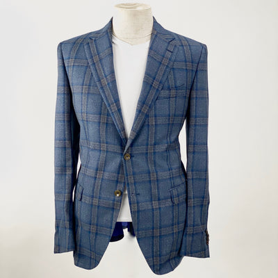 Olliver Grey Blazers Plaid Checks Wool Blazer - Gotstyle The Menswear Store