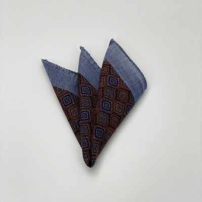 Psychedelic Diamond Printed Pocket Square - Brown - Gotstyle The Menswear Store