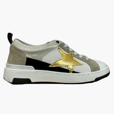 Gotstyle - Piranha Shoes Mixed Fabric Mesh Leather Sneaker with Star