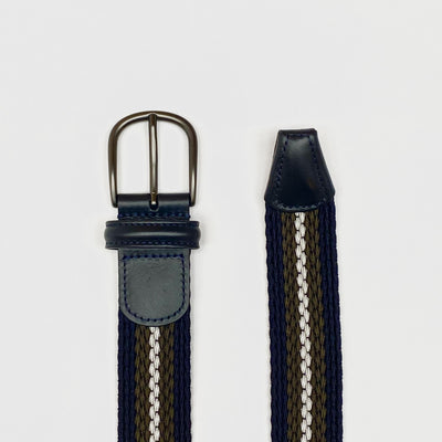 Gotstyle - Anderson's Belts Stripe Stretch Woven Belt - Navy/Army/Grey