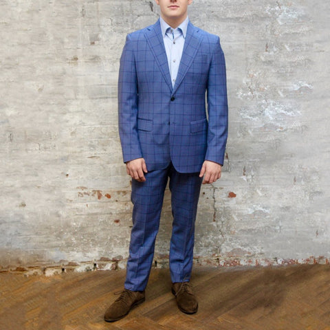 0909 MT - Suits Overcheck Notch Lapel Pick Stitch Wool Suit - Blue - Gotstyle The Menswear Store