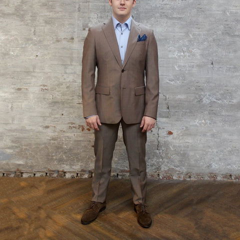 0909 MT - Suits Solid Notch Lapel Pick Stitch Wool Suit - Brown - Gotstyle The Menswear Store