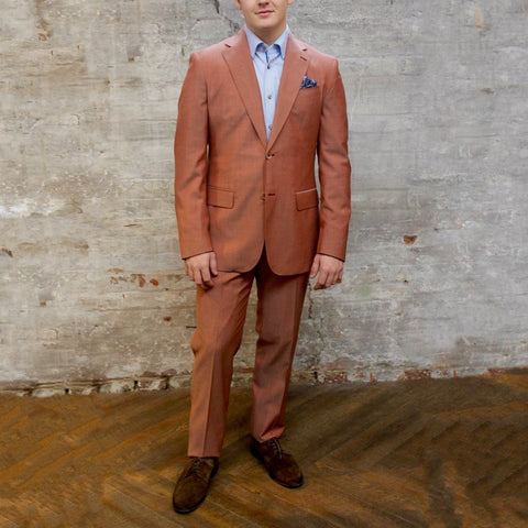 0909 MT - Suits Solid Notch Lapel Pick Stitch Wool Suit - Red - Gotstyle The Menswear Store