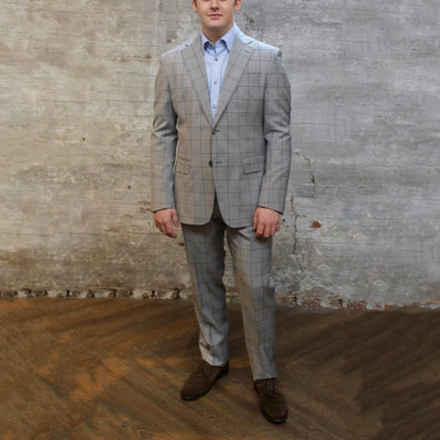 0909 Suits Overcheck Notch Lapel Pick Stitch Wool Suit - Grey - Gotstyle The Menswear Store