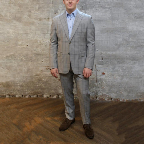 0909 MT - Suits Overcheck Notch Lapel Pick Stitch Wool Suit - Grey - Gotstyle The Menswear Store