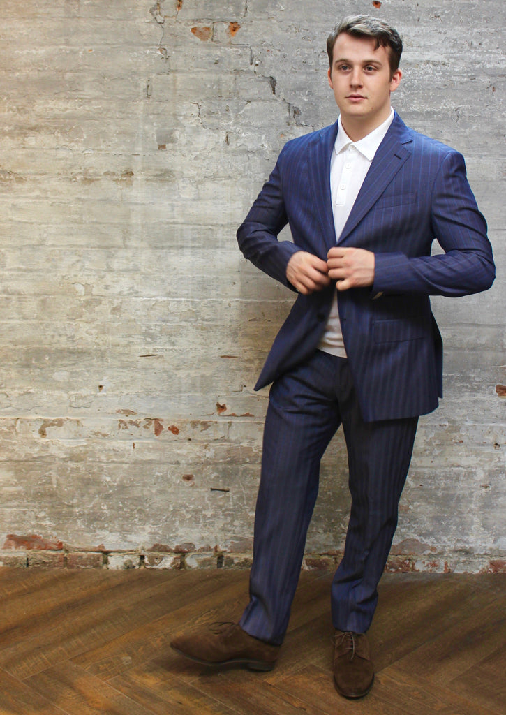Stripe Notch Lapel Pick Stitch Wool Suit - Gotstyle The Menswear Store