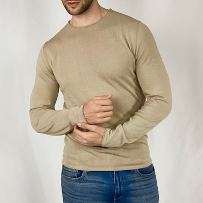 Gotstyle - Kiefermann Sweaters Rolled Edge Crew Boucle Knit Sweater - Sand