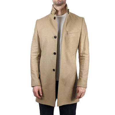 J.Lindeberg Jackets Melton Wool Overcoat - Sand - Gotstyle The Menswear Store