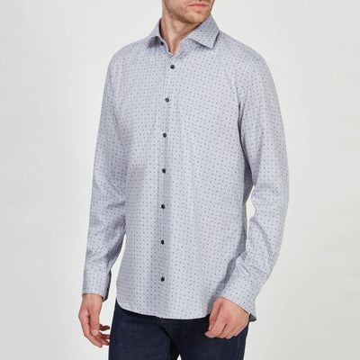Joop! Collar Shirts Micro Print on Herringbone Dress Shirt - Gotstyle The Menswear Store
